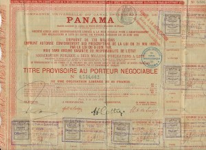 Panama Canal Stock Certificate - Front